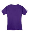 Purple White Sport-Tek Ladies Colorblock Competitor Tee as seen from the back