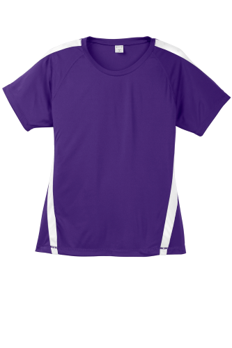 Purple White Sport-Tek Ladies Colorblock Competitor Tee as seen from the front