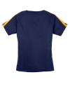 Tr Navy Gold Sport-Tek Ladies Colorblock Competitor Tee as seen from the back