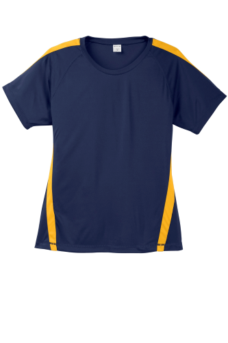 Tr Navy Gold Sport-Tek Ladies Colorblock Competitor Tee as seen from the front
