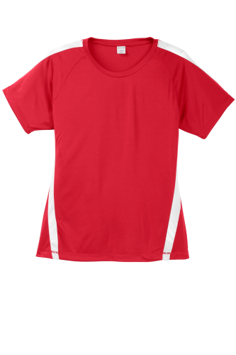 Tr Red White Sport-Tek Ladies Colorblock Competitor Tee as seen from the front