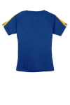 Tr Royal Gold Sport-Tek Ladies Colorblock Competitor Tee as seen from the back