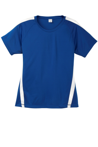 Tr Royal White Sport-Tek Ladies Colorblock Competitor Tee as seen from the front