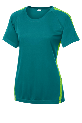 Trop Blue Lime Sport-Tek Ladies Colorblock Competitor Tee as seen from the front
