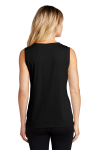 Black Sport-Tek Ladies Sleeveless Competitor V-Neck Tee as seen from the back