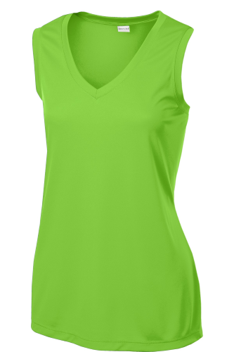 Lime Shock Sport-Tek Ladies Sleeveless Competitor V-Neck Tee as seen from the front
