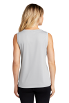 Silver Sport-Tek Ladies Sleeveless Competitor V-Neck Tee as seen from the back