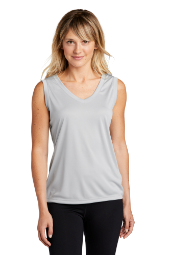 Silver Sport-Tek Ladies Sleeveless Competitor V-Neck Tee as seen from the front