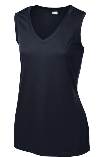 True Navy Sport-Tek Ladies Sleeveless Competitor V-Neck Tee as seen from the front