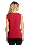 True Red Sport-Tek Ladies Sleeveless Competitor V-Neck Tee as seen from the back