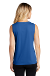 True Royal Sport-Tek Ladies Sleeveless Competitor V-Neck Tee as seen from the back