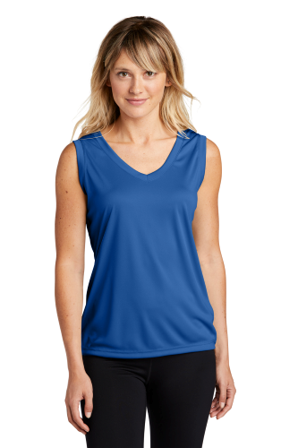 True Royal Sport-Tek Ladies Sleeveless Competitor V-Neck Tee as seen from the front