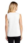White Sport-Tek Ladies Sleeveless Competitor V-Neck Tee as seen from the back