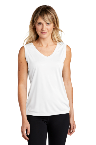 White Sport-Tek Ladies Sleeveless Competitor V-Neck Tee as seen from the front
