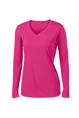 Sport Tek Ladies Long Sleeve V Neck Competitor Tee