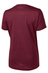 Cardinal Hthr Sport-Tek Ladies Heather Contender Scoop Neck Tee as seen from the back
