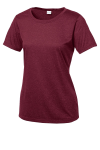 Cardinal Hthr Sport-Tek Ladies Heather Contender Scoop Neck Tee as seen from the front