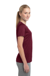 Cardinal Hthr Sport-Tek Ladies Heather Contender Scoop Neck Tee as seen from the sleeveleft