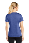 Cobalt Hthr Sport-Tek Ladies Heather Contender Scoop Neck Tee as seen from the back