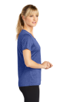 Cobalt Hthr Sport-Tek Ladies Heather Contender Scoop Neck Tee as seen from the sleeveleft