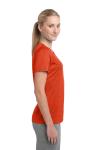 Dp Orange Hthr Sport-Tek Ladies Heather Contender Scoop Neck Tee as seen from the sleeveleft