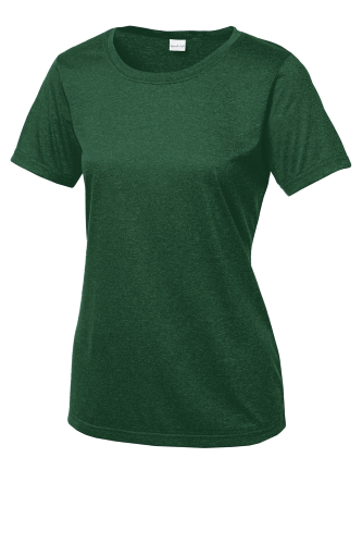 For Grn Hthr Sport-Tek Ladies Heather Contender Scoop Neck Tee as seen from the front