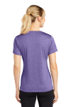 Purple Hthr Sport-Tek Ladies Heather Contender Scoop Neck Tee as seen from the back
