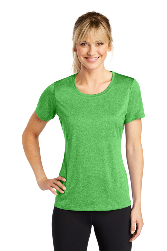 Turf Grn Hthr Sport-Tek Ladies Heather Contender Scoop Neck Tee as seen from the front