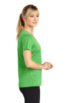 Turf Grn Hthr Sport-Tek Ladies Heather Contender Scoop Neck Tee as seen from the sleeveleft