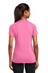 Bright Pink Sport-Tek Ladies Ultimate Performance V-Neck as seen from the back