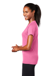 Bright Pink Sport-Tek Ladies Ultimate Performance V-Neck as seen from the sleeveleft