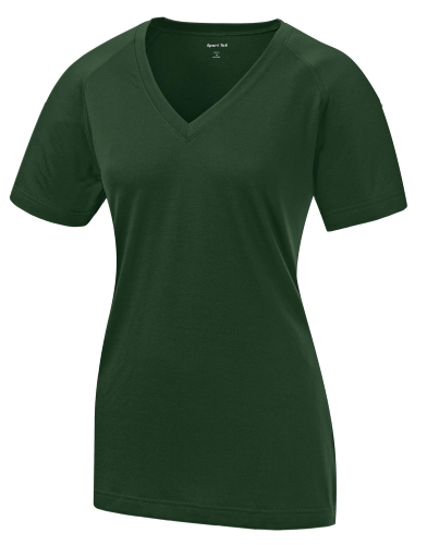 Forest Green Sport-Tek Ladies Ultimate Performance V-Neck as seen from the front