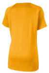 Gold Sport-Tek Ladies Ultimate Performance V-Neck as seen from the back