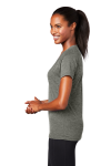 Heather Grey Sport-Tek Ladies Ultimate Performance V-Neck as seen from the sleeveleft