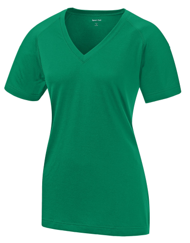 Kelly Green Sport-Tek Ladies Ultimate Performance V-Neck as seen from the front