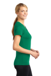 Kelly Green Sport-Tek Ladies Ultimate Performance V-Neck as seen from the sleeveleft
