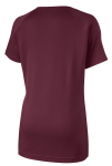 Maroon Sport-Tek Ladies Ultimate Performance V-Neck as seen from the back