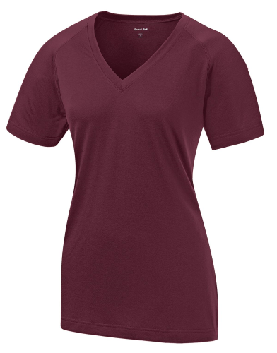 Maroon Sport-Tek Ladies Ultimate Performance V-Neck as seen from the front
