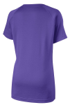 Purple Sport-Tek Ladies Ultimate Performance V-Neck as seen from the back