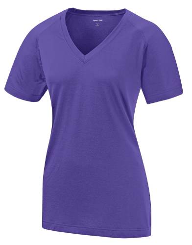Purple Sport-Tek Ladies Ultimate Performance V-Neck as seen from the front