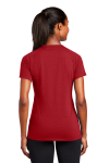 True Red Sport-Tek Ladies Ultimate Performance V-Neck as seen from the back