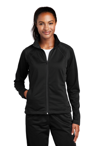 Black Black Sport-Tek Ladies Tricot Track Jacket as seen from the front