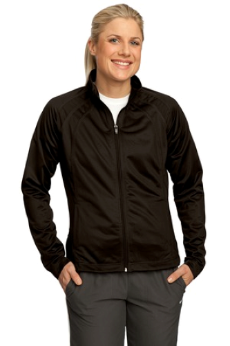 Dk Choc Dkchoc Sport-Tek Ladies Tricot Track Jacket as seen from the front
