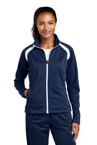 True Navy Whit Sport-Tek Ladies Tricot Track Jacket as seen from the front