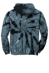 Black Port & Company Essential Tie-Dye Pullover Hooded Sweatshirt as seen from the back
