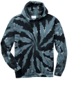 Black Port & Company Essential Tie-Dye Pullover Hooded Sweatshirt as seen from the front