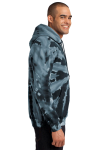 Black Port & Company Essential Tie-Dye Pullover Hooded Sweatshirt as seen from the sleeveleft