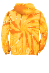 Gold Port & Company Essential Tie-Dye Pullover Hooded Sweatshirt as seen from the back