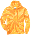 Gold Port & Company Essential Tie-Dye Pullover Hooded Sweatshirt as seen from the front