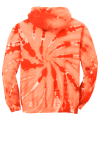Orange Port & Company Essential Tie-Dye Pullover Hooded Sweatshirt as seen from the back